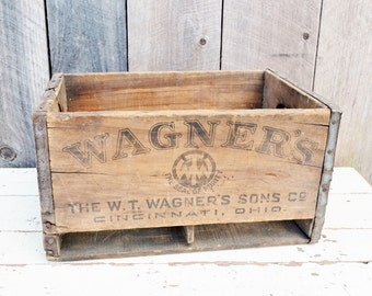 Vintage W T Wagner's Wooden Crate with Dividers Seltzer Mineral Water Bottles Rustic Primitive Decor 1920's