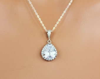 Cubic Zirconia Bridal Necklace, Rhinestone Tear drop Wedding Necklace, Crystal Drop Bridal Pendant, Wedding Pendant