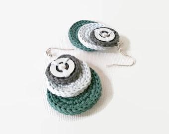 Crochet circular dangle earrings, cotton earrings, dark-grey, light-blue, green, for her