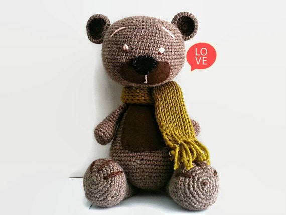 Amigurumi Wool : Crochet Toy Amigurumi Teddy Bear Crochet Bear Wool Bear