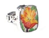 Size 7 Broken China Jewelry Johnson Bros Pareek Tulip Flower Sterling Ring