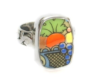 Size 8 Broken China Jewelry Autumn Fruit Basket Rectangle Sterling Ring