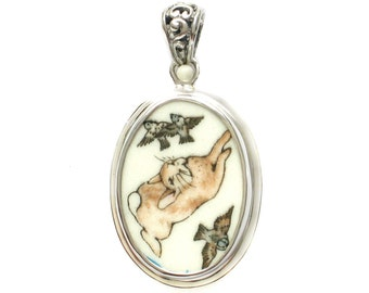 Broken China Jewelry Beatrix Potter Peter Rabbit with Flying Birds B Sterling Pendant