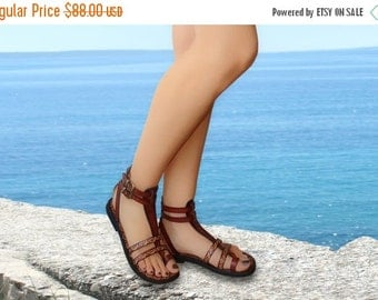 20% Handcrafted Women Men Gladiator Sandals With Pattern - Fascination