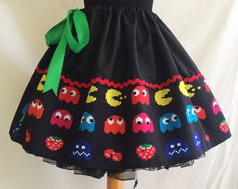 Retro Video Games, skirt,  Geek Clothes, ALL SIZES, 1980s Retro Clothes, ROoBYS,