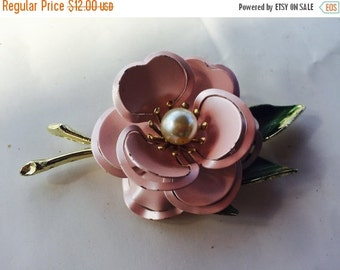 MOVING SALE Half Off Pretty Vintage  Pink Enamel Flower Metal Brooch