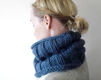 Hand knit blue winter cowl / urban rustic soft denim blue chunky cowl / minimalist style unisex neck warmer / dusty blue large neck cozy