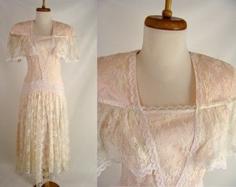 As-Is. vintage 80s Gunne Sax Dress. Lace Drop Waist Bridesmaid Dress Prom Gown or Customizable Zombie Costume. OPTIONAL BLOOD ~ size S 4 5 6