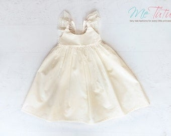 Vintage Shabby Chic Cream Ivory Flutter Sleeve Floral Girl Baby Girl Dress