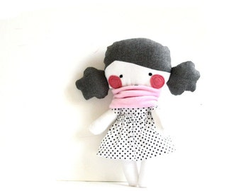 "Rag doll Stuffed toy Stuffed doll Plushie Softie Polka dots Polka dotted Handmade black white Pale pink scarf 9.8"" 25 cm"