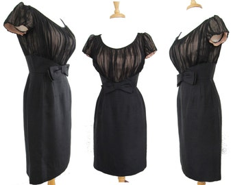 Vintage 1950s Dress//50s Dress/ Black//Designer//Montego Original//New Look//Mod//Wiggle//Party Dress//Cocktail Dress//