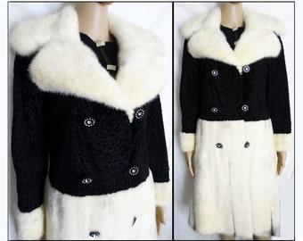 Vintage Mink Coat// Full Length//White & Black Cross Mink//Stole// Shawl//Shrug//
