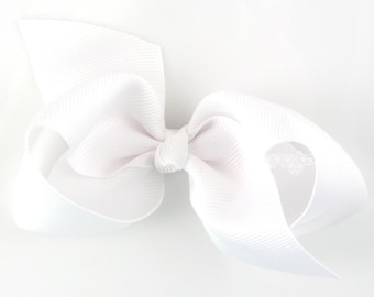 NEW STYLE - Loopy Pinwheel Hair Bow - White Hairbow 3.5 Inch Solid Color Boutique Bow for Baby Toddler Girls 1.5 Inch Wide Ribbon