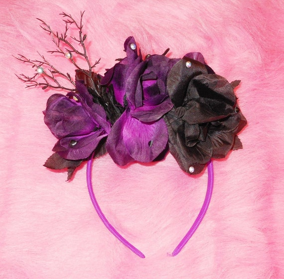 Flower Crown Purple: Black And Purple Flower Crown // Headband With By BONESCOUTURE