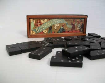 domino set for children . pioneer wooden dominoes . games for children . games for math and strategy . toys . wooden boxes . game pieces