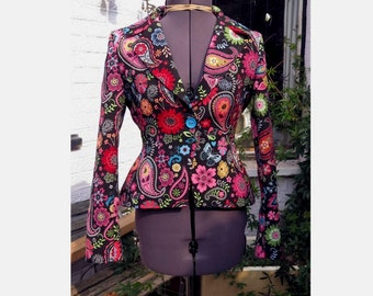 black and paisley jacket with pink satin lining ltd ed UK seller