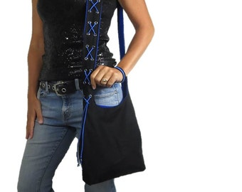 thin blue line purse. hobo bag in black with blue suede lace accent on strap. choose size and strap length