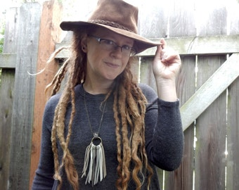Leather Fringe Chain Necklace with Beige, Taupe, White, and Grey Leather Fringe Antique Brass Chain and Ring