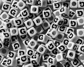 Letter-G, 7x7mm Cube Alphabet Beads Brite White with Glossy Black Letter G, 100pc
