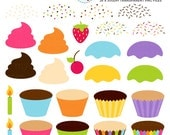 Cupcake Clipart Set - build your own cupcake, icing, sprinkles, DIY cupcakes, cherry - personal use, small commercial use, instant download
