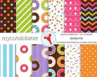 Donuts Digital Paper Set - patterned paper, doughnuts, sprinkles, polka, stripe - personal use, small commercial use, instant download
