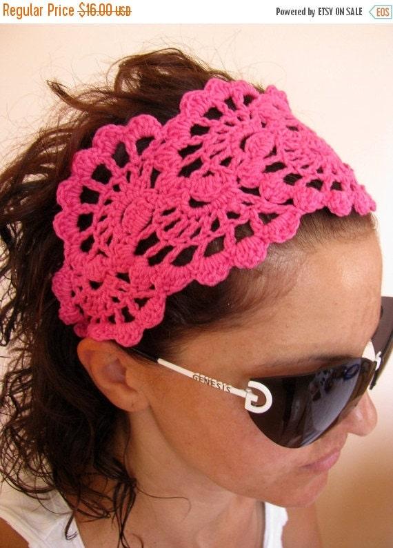 ON SALE 15% SALE Headband - Crochet Hairband- Spring Summer Headband Hair Fashion Accessories - handcrochet headband in hot pink color