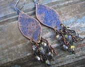 HANDCRAFTED COPPER EARRINGS Chain/Crystal dangles hammered copper