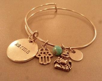 Karma Charm Bracelet: Yoga Inspired Charm Bangle, Karma, Buddha, Hamsa, Charm, Friendship Bracelet, Yoga Jewelry, Relaxation