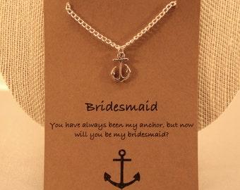 Anchor Necklace: Bridesmaid Anchor Necklace, Bridesmaid Jewelry, Bridal Jewelry, Maid of Honour, Wish Necklace, Best Friends