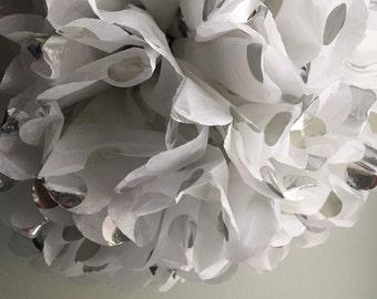 1 Silver Polka Dot Tissue Paper Pom Pom, Metallic Silver Polka Dots, Silver Pom Pom, wedding pom, party decor, silver and white
