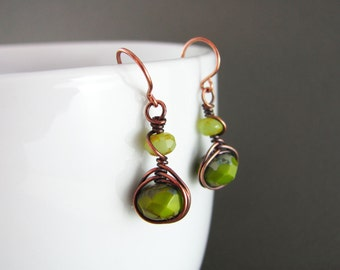 Wire Wrapped Earrings Green Earrings Copper Earrings Wire Wrapped Jewelry Copper Wire Herringbone Wrapped
