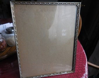 Vintage 1950s Gold Tone 8 X 10 Picture Frame Metal Self Standing Non Hanging Vertical or Horizontal Not Perfect Repurpose Paint