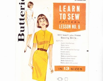 Butterick 106 Learn To Sew 1960s Sheath Dress Sz 12 Bust 32 Buttoned Front Sleeveless Or Short Sleeves