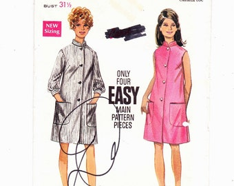 Butterick 5120 Vintage Robe With Madarin collar Front Buttoned 1960's Size 8 Bust 31.5 Easy Pattern Uncut Pattern FF