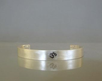 Sterling silver mens cuff bracelet, Om bracelet, Yoga bracelet, Mens jewelry made to order