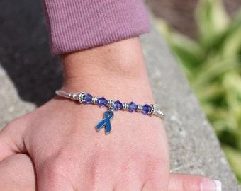 Dark Blue Awareness Ribbon Charm Bracelet: Colon Cancer, Arthritis, Rectal Cancer, Huntington's Disease, Reye's Syndrome, Erb's Palsy