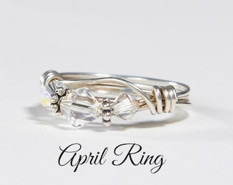 April Birthstone Ring: Handmade Sterling Silver April Crystal Birthstone Ring made with Swarovski Crystals. Birthday, Christmas gift for her