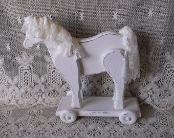 Lace and Wood horse, push and pull, Shabby Cottage nursery, Repurposed vintage, display horse, shabby white