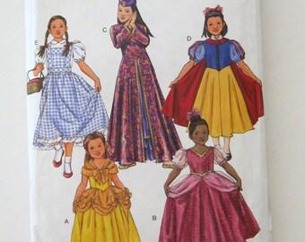 Girls Costume Pattern Butterick B4320 Cinderella Dorothy, Snow White, Princess, Mulan, Belle Halloween Costume Sewing Pattern Size 2-5 UNCUT