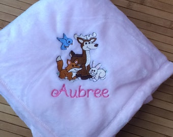 Woodland Forest Animals Fox Deer  Baby Blanket Personalized Free