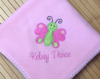 Personalized Baby Girl Butterfly Blanket