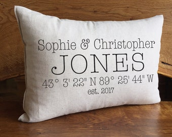 Personalized Wedding or Anniversary Pillow With Custom Names, Coordinates And Established Date, Personalized Wedding Gift, Cotton Linen