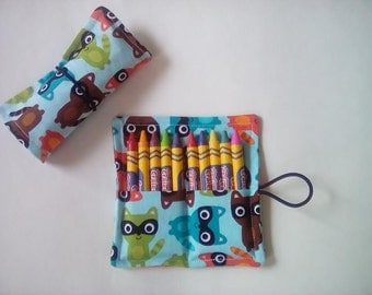 Party Favors for Kids, Crayon Roll, Raccoon, Animal Party Favors, Animals Crayon Rolls, crayon roll up