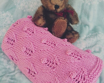 Pretty in Pink Posie Hand Knit Baby Blanket / Afghan