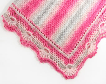 Knitted Baby Blanket Pink Gray Lacy Crochet Baby Blanket Afghan Lap Blanket Shower Gift Housewarming Gift New Mom Gift Silk Soft Throw