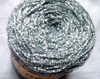 """Glitter Yarn, Shine, sparkle yarn, silver color yarn, metal yarn, lame. Yarn """"Natali"""". DSH(P5)"""