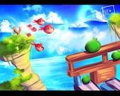 Angry Birds - Original 4x6 or 8x10 Digital Print by Fanartbr