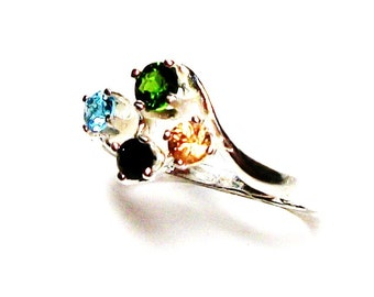 "Chrome diopside, cluster  ring, accent ring, green yellow black blue, 4 stone ring, anniversary ring, s 5 1/2 ""4 Star Night"""
