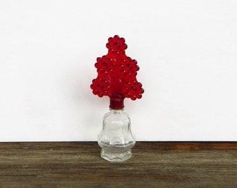 Glass Perfume Bottle with Tall Red Plastic Lid Stopper Miniature Glass Perfume Bottle 1940s Vintage Vanity Bottle