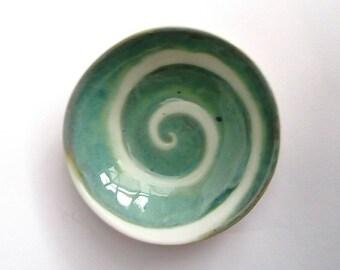 Handmade Pottery bowl Aqua Swirl